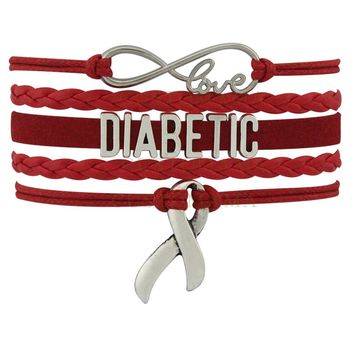 Infinity Love Diabetic Awareness Ribbon Red Charm Leather Wrap Jewelry