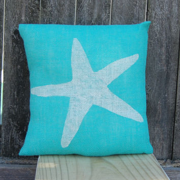 Starfish Pillow, Summer Pillow, Beach House Pillow, Nautical Pillow, Burlap Pillow,Decorative Pillows,Beach House Decor,Throw Pillow,Cushion | Toad Hollow