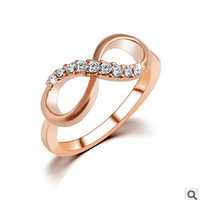 2016 Simple Fashion  Zircon Crystal Stone 8 Letters Ring 18K Gold Plated  Rings For Women