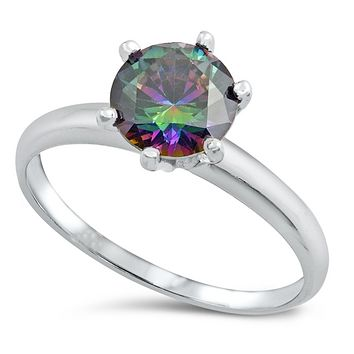.925 Sterling Silver Solitaire Engagement Ladies Ring Rainbow Size 4-10 Round Cut 1.50 carats