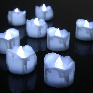 12 pcs LED Candles Flameless Electric Drop Tear White Tealight Bougies Candeles For Home Wedding Birthday Party Decor Vales Boda