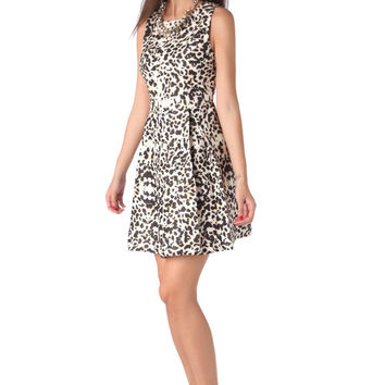 Q2 Skater Dress In Leopard Print