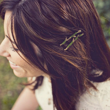 Mossy Twig Branch Hair Pins  Woodland Nymph by WoodlandBelle