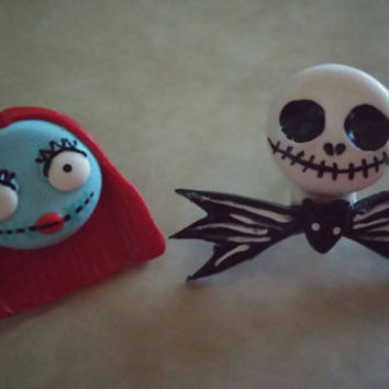 Jack Skellington and Sally Nightmare Before Christmas earrings