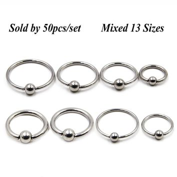 50pcs/set Stainless Steel Captive Bead Ring Nose Ring Earring Septum Lip Piercing BCR/CBR