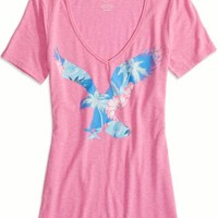 AEO Factory 's Bright Icon V-neck T-shirt (Pink)