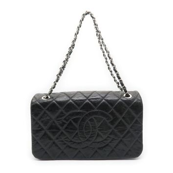 Chanel Quilted Calfskin Leather SHW Chain Shoulder Bag Black 1039