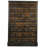 Antique Bank of Apothecary Drawers