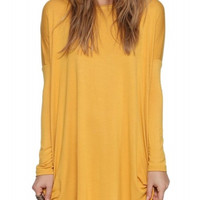 Yellow Long Sleeve Elastic & Oversized Shirt Dress