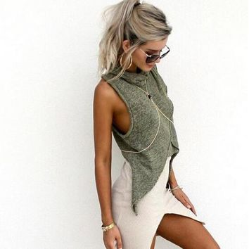 Summer Women Solid Color Sleeveless Turtleneck Irregular Dovetail T-Shirt Crop Tops