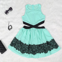 Teal Lace Cutout Mini Dress