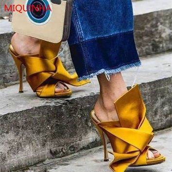 Luxury Brand High Quality Ladies Satin Twist-Tie Mules Open Toe Large Bow Gladiator Stiletto Slippers Women Shoes Party Shoes