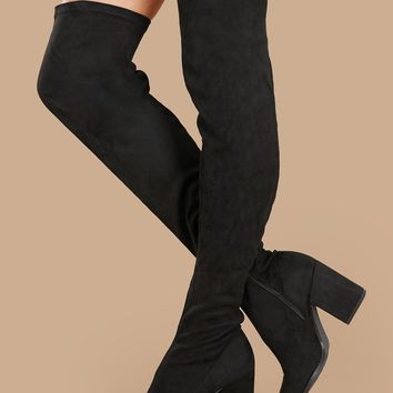 Thigh High Pointed Toe Block Heel Stretch Boots