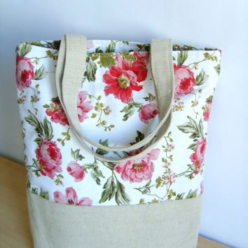 Tote bag, Canvas bag, Romantic bag, natural linen and cotton bag, rose, pink, white, flower pattern