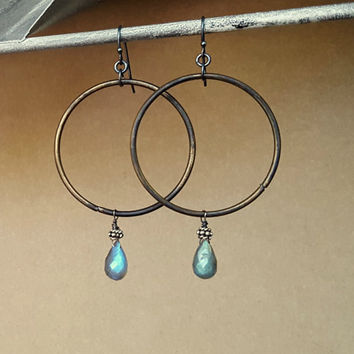 Labradorite Earrings, Stone Hoop Earrings, Grey Stone, Blue Flash, Labradorite Hoop Earrings, Rustic Hoops, Rustic Earrings, Dark Black Hoop