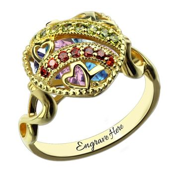Openable Heart Cage Birthstone Ring Personalized  Infinity&Heart Mother's Day Gift