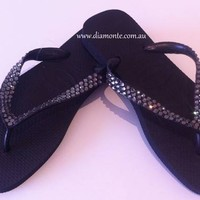 Top Havaianas Thongs Flip Flops Sandal Ft. Dark Grey Swarovski Crystal