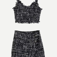 Fringe Trim Tweed Crop Top With Skirt
