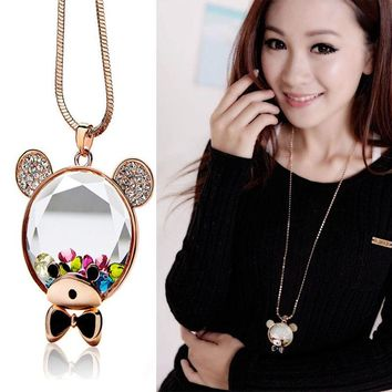 Fashion Austrian Crystal Necklaces Teddy Bear Cartoon Golden Color Fish Sweater Chain Accessories Fashion Crystal Necklace