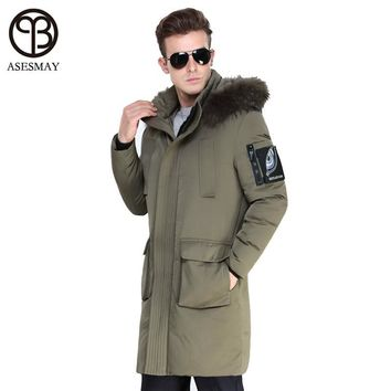 2017 Asesmay Brand Clothing Winter Men Jacket Fashion Thickening Casual Duck Down Coat Mens Parka Wellensteyn Jacket Fur Hooded