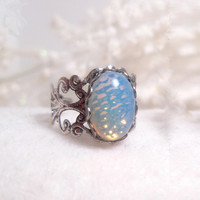 Pinfire Ripple - Blue Opal Ring - Silver Ring - Filigree - Glass - Victorian - Romantic