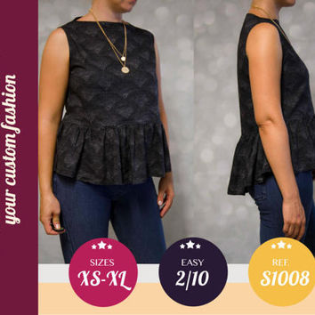 Peplum top pdf sewing pattern with step by step sewing tutorial (easy/beginners) XS/S/M/L/XL