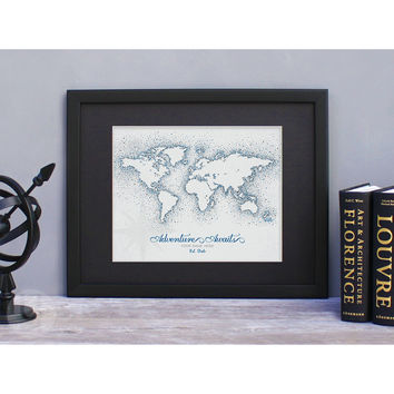 Personalized World Map Print - Vintage Navy Dots
