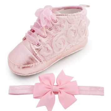 Choice of Baby Girl Rose Shoes with FREE Matching Headband.