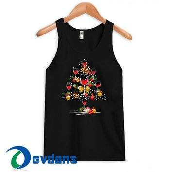 Wine Glass Christmas Tree Tank Top Men And Women Size S to 3XL
