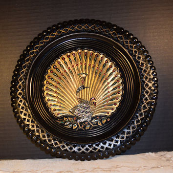 Brass Etched Peacock Plate Vintage Black Metal Bird Wall Hanging India Wall Art Asian Decor India Brass Decor Decorative Hanging Plate