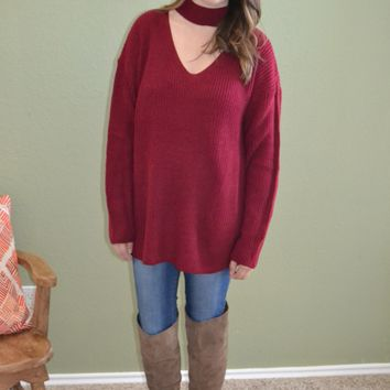 Bring on Fall Oversized Sweater: Burgundy