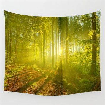 Sunshine Deep Forest Meditation Forest Wall Tapestry