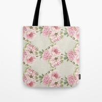 pink peony pattern Tote Bag by sylviacookphotography