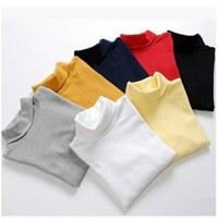 2016 Spring Autumn children t shirt Baby Basic Shirts 100% Cotton Boys And Girls Long-sleeve Turtleneck T-shirt 0-12 years
