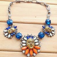 Blue Stone Beijing Opera Facial Mask Necklace,Cute Women Choker,Special Gift for Her