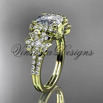 14kt yellow gold diamond Cherry Blossom flower, Sakura engagement ring with cushion cut Moissanite VD8148