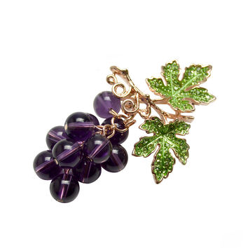 Winter Style Crystal Grape Brooches for Women Cute Luxury Brooch Pin Fashion Jewelry Elegant