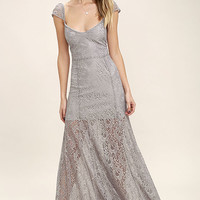 Evening Dreaming Light Grey Lace Maxi Dress