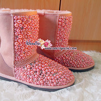 Bling and Sparkly Pink Pearls UGG Inspired SheepSkin Wool BOOTS w Elegant Pearls and Crystals - ZoeCrystal