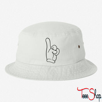 pointing finger bucket h bucket hat
