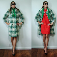 Vintage 1960s Betty Rose NOS Ultra MOD Blue & Green Knit Winter Coat Small