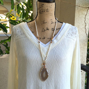 Boho Long Necklace - Hand Knotted Necklace Druzy Agate Geode Pendant Crystal Geode Necklace Bohemian Necklace Beaded Necklace by loveandlulu