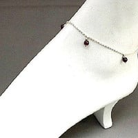 January Birthstone Garnet Anklet Sterling by SparklePlentyToo