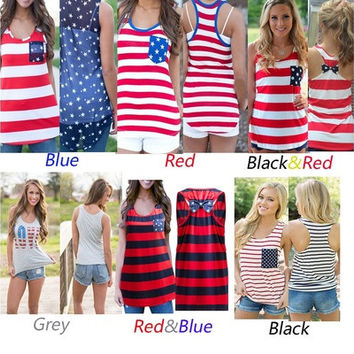 Ladies Sexy Summer Vest American flag stripe Style Tank Tops T-Shirt [9222185156]