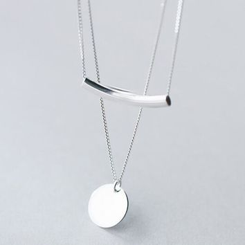 real. 925 Sterling Silver Jewelry Double Rows Round Coin &Arch Necklace Multi-layers Pendant Charms Women's GTLX1242