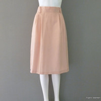 Pink Knee Length Polyester Knit Skirt 1970s F.R Bentley Secretary Skirt Work Skirt Twill Skirt Summer Skirt Medium Skirt