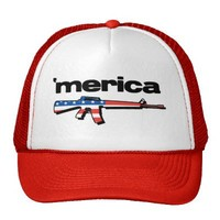 Merica Flag Rifle Trucker Hat from Zazzle.com