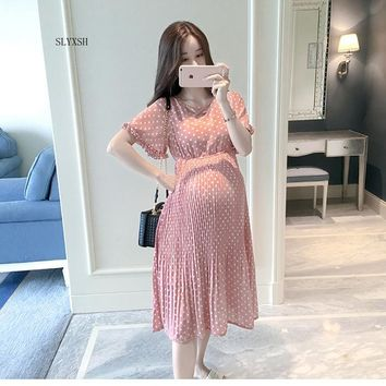 SLYXSH Pregnant Women Midi Pleated Chiffon Dress Pink Polka Dots Summer Pregnancy Clothes Loose Plus Size Maternity Dresses