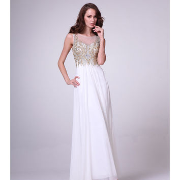 Preorder -  White & Gold Sleeveless Chiffon Embellished Gown 2015 Prom Dresses