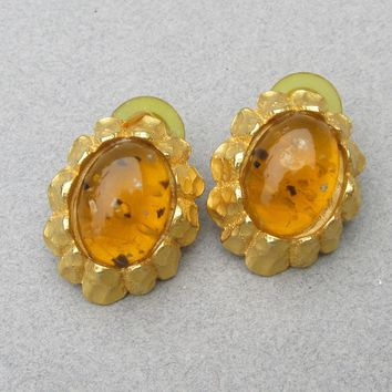 Kenneth Jay Lane KJL Vintage Faux Amber Gold Tone Pierced Earrings
